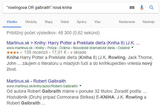 Operátor vyhľadávania OR