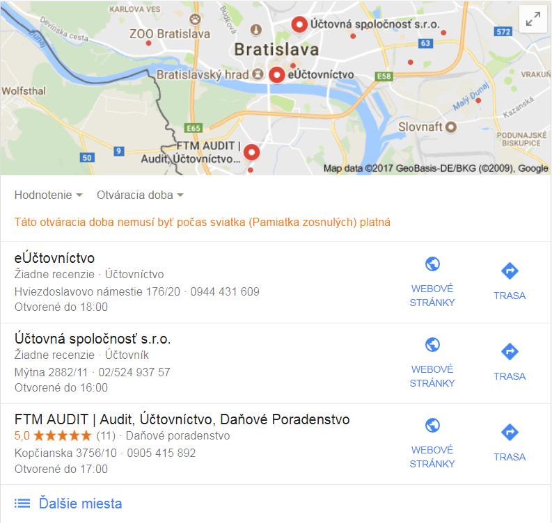 Ukážky mapových výsledkov vo vyhľadávači