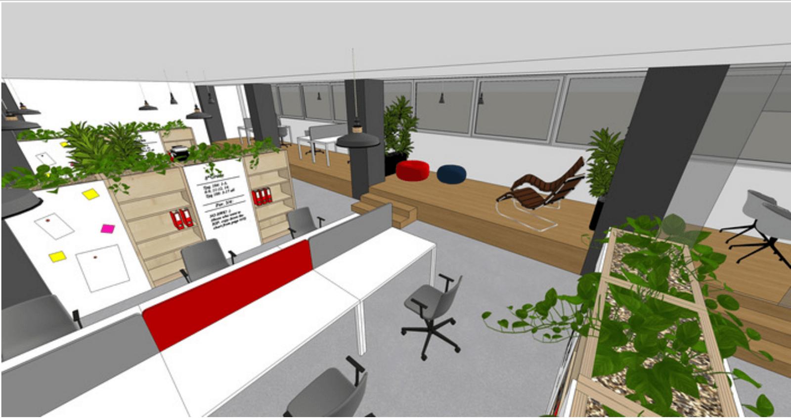 Vizualizácia nových kancelárií Pizza SEO v OD Dunaj od ateliéru winwin