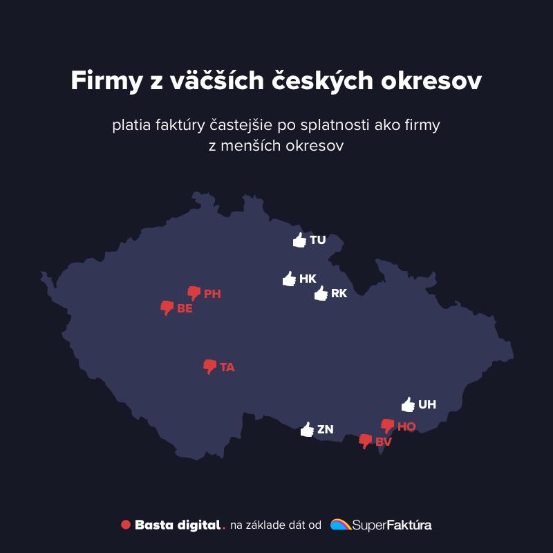 Obrázok: Okresy s najlepšou a najhoršou platobnou disciplínou v Českej republike