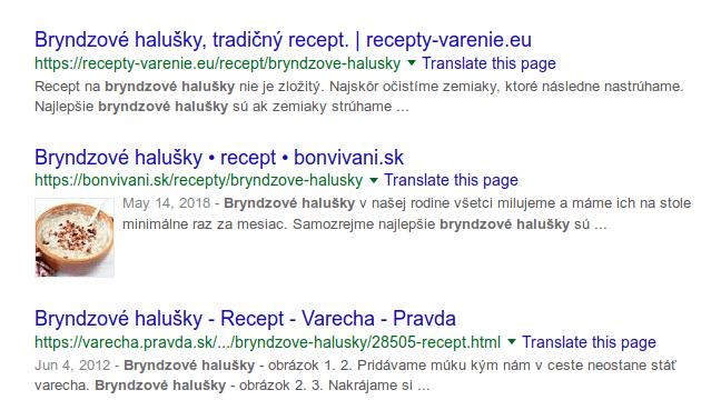 Recepty (štruktúrované dáta) vo výsledkoch Google