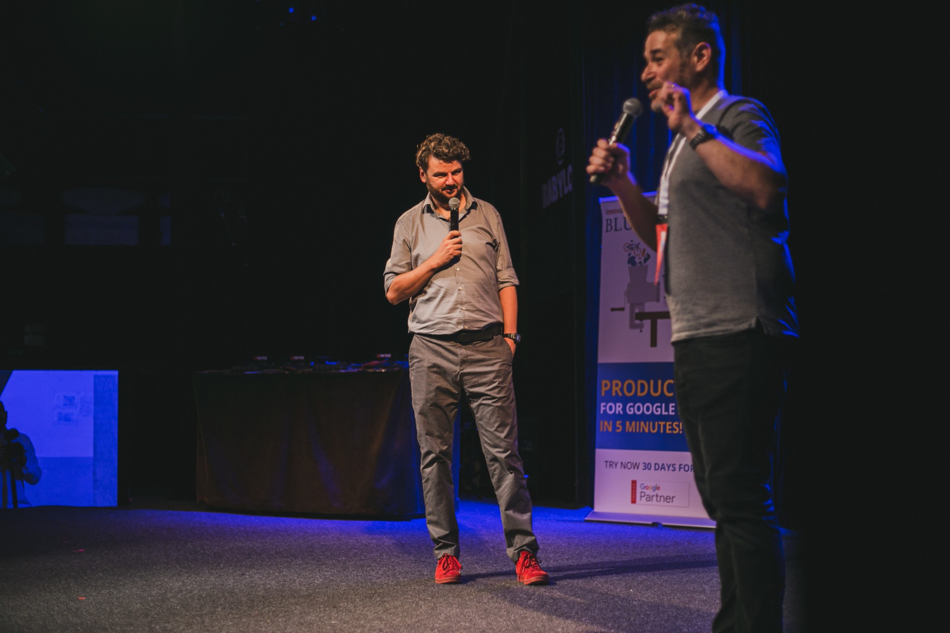 The host of the conference was the famous Slovak stand up comedian Ján Gordulič (left)