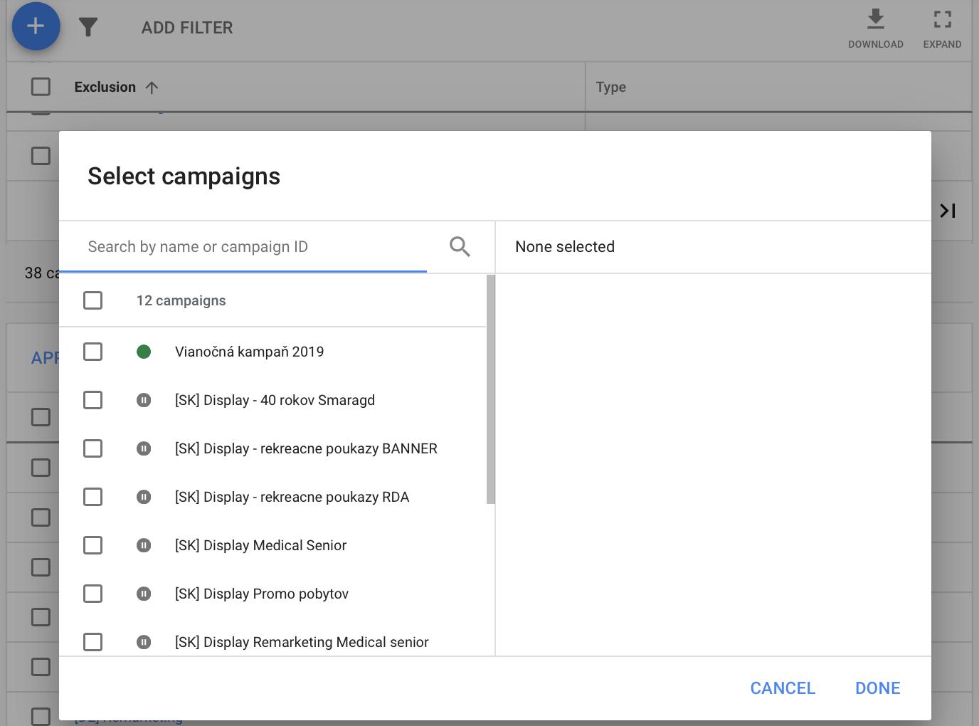 Kampane môžete zadať rovno pri zadávaní zoznamu vylúčení