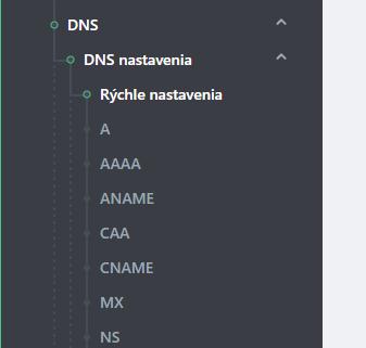 hostingové záznamy