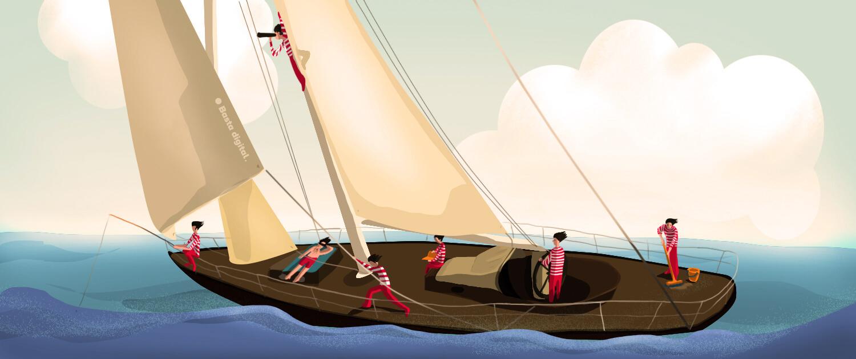 Loď s námorníkmi, kde každý má svoju úlohu