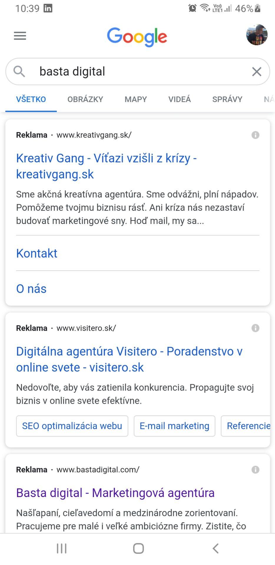 Reklama vo vyhľadávaní pri hľadaní frázy Basta digital