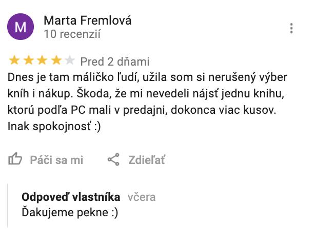 Reakcia na pozitívnu recenziu od Martinus v Google My Business