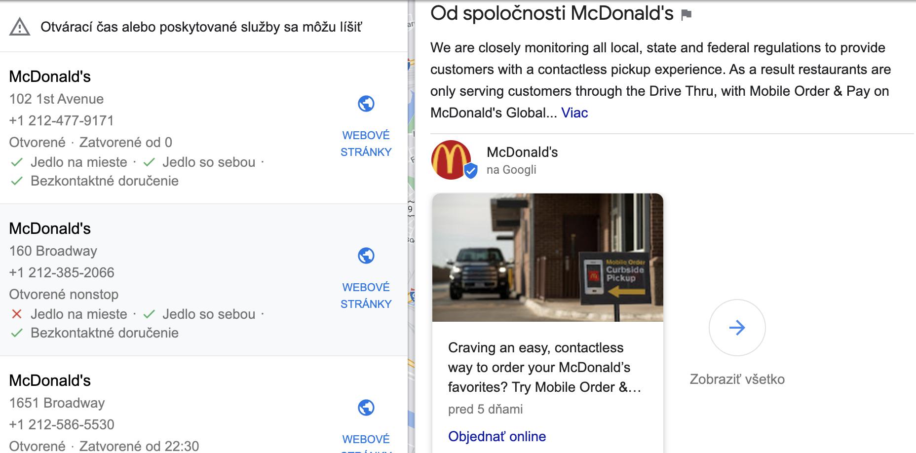 Pandemická komunikácia newyorkského McDonald's
