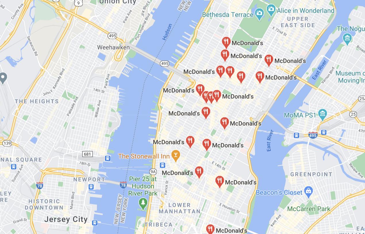 Newyorkské fastfoody McDonald's v Google My Business