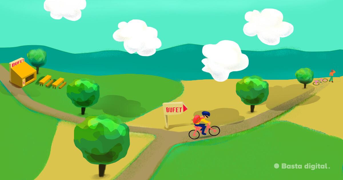 Cyklista ide nesprávnym smerom kvôli chybne otočenej smerovníku - alúzia na nepresmerované URL