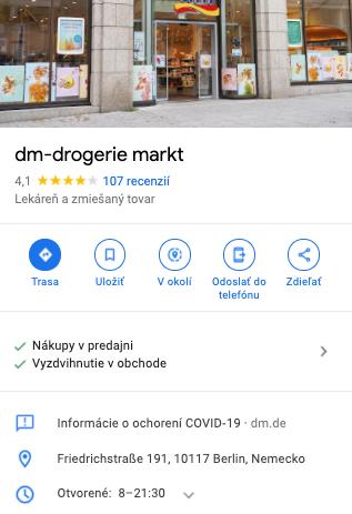 Odkaz na kompletné informácie o opatreniach v súvislosti s pandémiou priamo v profile konkrétnej prevádzky v Google My Business