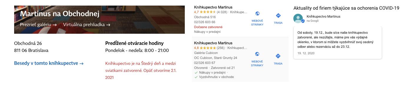 3 rôzne informácie o tom, či je kníhkupectvo Martinus otvorené a aké možnosti návštevy majú zákazníci v rovnakom čase.