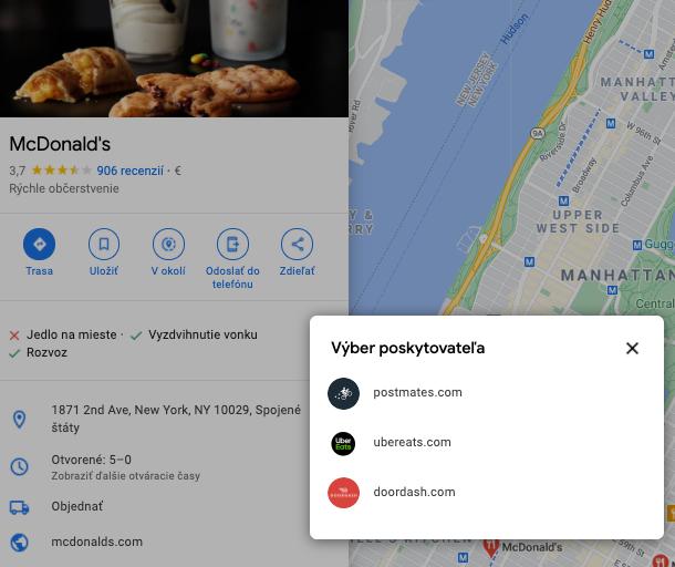 Niektoré typy prevádzok môžu v profile uviesť aj poskytovateľov roznášky, ktorých využívajú. Robí to napríklad americký McDonald's.