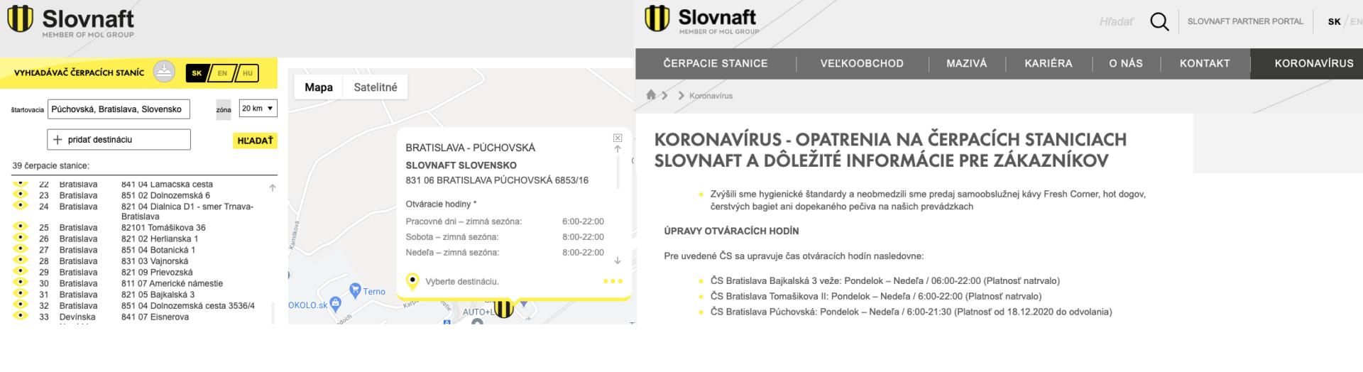 Slovnaft uvádza na webe pandemické opatrenia (vpravo je screenshot podstránky https://slovnaft.sk/sk/koronavirus/), nie však na mieste, kde ľudia hľadajú informácie o čerpacích staniciach (vľavo). Nehovoriac o tom, že tam nie sú aktualizované ani otváracie hodiny.