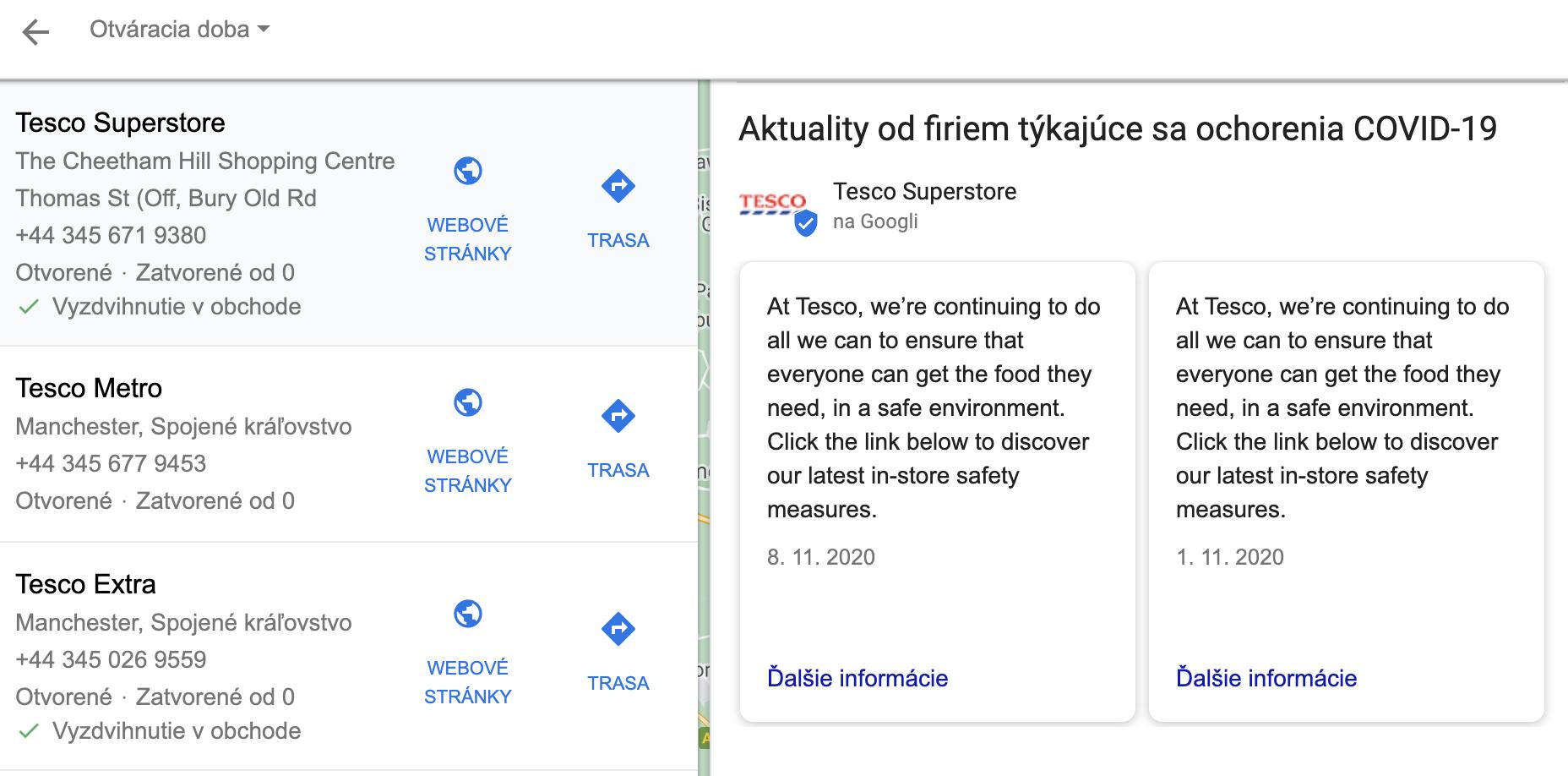 TESCO v Londýne komunikuje zavedené opatrenia aj v Google My Business prostredníctvom príspevkov a tým pádom aj v Mapách Google.