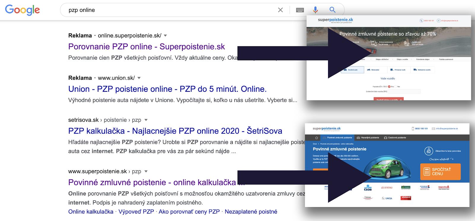 Rozdielne vstupné stránky plateného a organického výsledku vo výsledkoch vyhľadávania Google