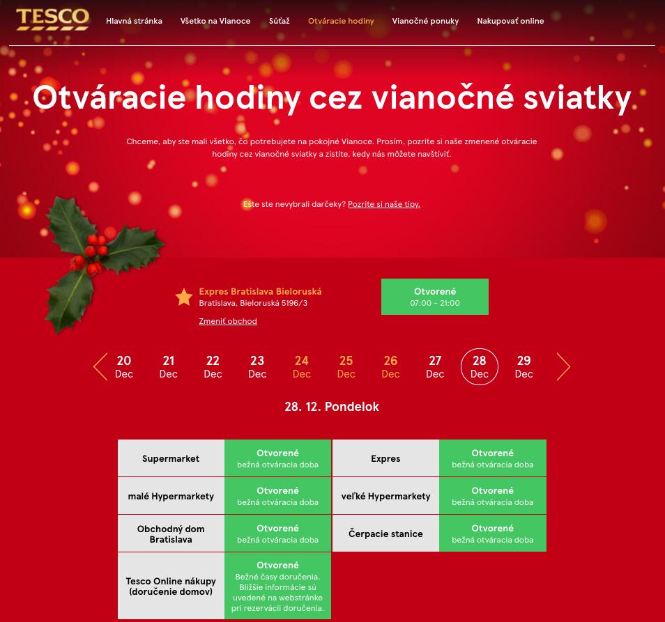TESCO má k Vianociam samostatný mikroweb. Nezniesol by zopár informácií navyše o pandemických opatreniach a obmedzeniach?